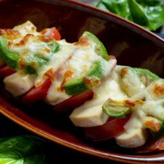 塩豆腐とトマトのグリルカプレーゼ