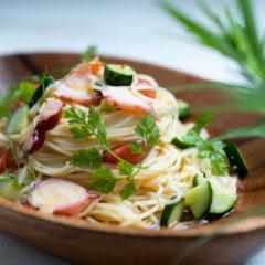 タコと夏野菜の冷製パスタ